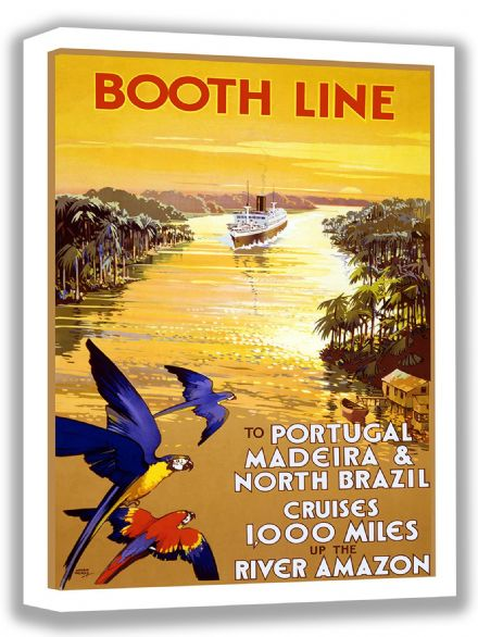 Booth Line: To Portugal, Madeira & North Brazil Cruises 1,000 Miles up the River Amazon. Vintage Travel Canvas. Sizes: A4/A3/A2/A1 (002701)